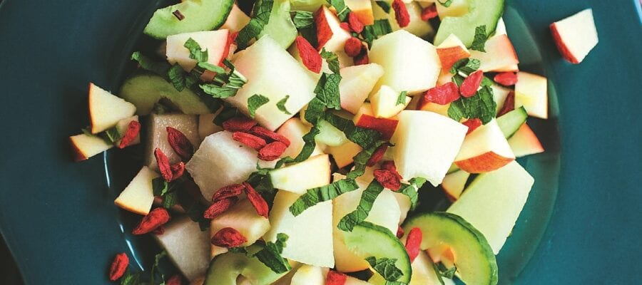 Melon, Cucumber, Apple Salad with Goji Berries