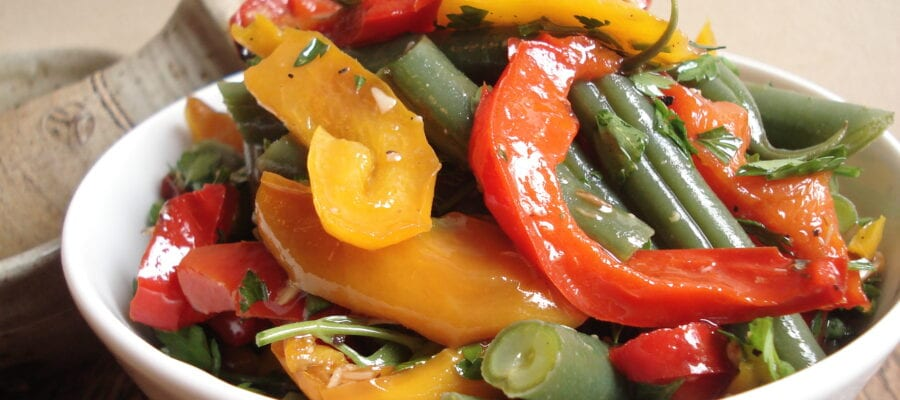 Green bean salad with red and yellow peppers