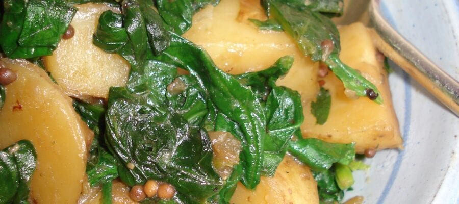 Indian-style spinach with new potatoes