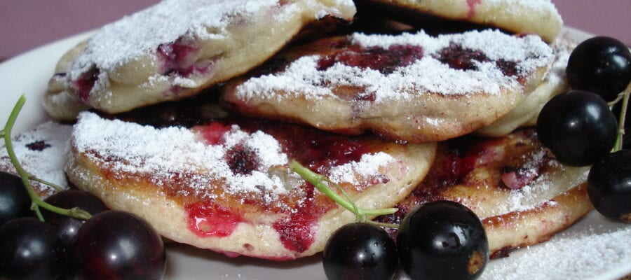 Blackcurrant pancakes