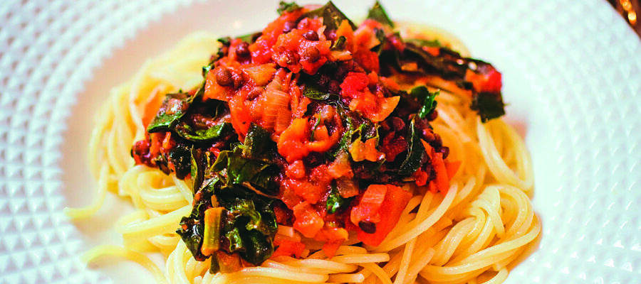 Spaghetti Bolognaise With Perpetual Spinach