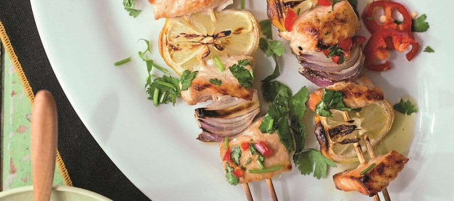 GRILLED SALMON KEBABS WITH A CHILLI HERB DRESSING