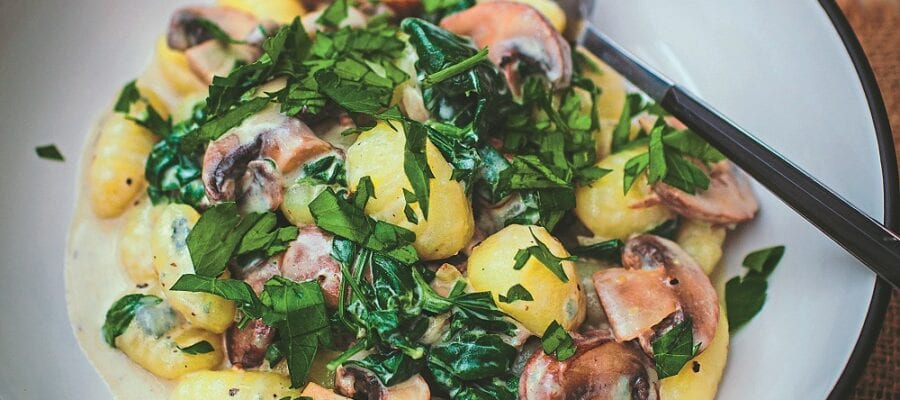 Gnocchi With Mushroom, Parsley & Gorgonzola Sauce